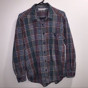 Vintage Red and Green Button Down Cotton Flannel